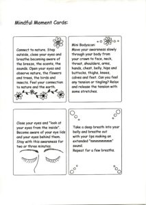 Mindful Moments cards, a resource for working with children for parents and teachers